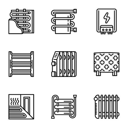 Heater radiator icon set. Outline set of 9 heater radiator vector icons for web design isolated on white background