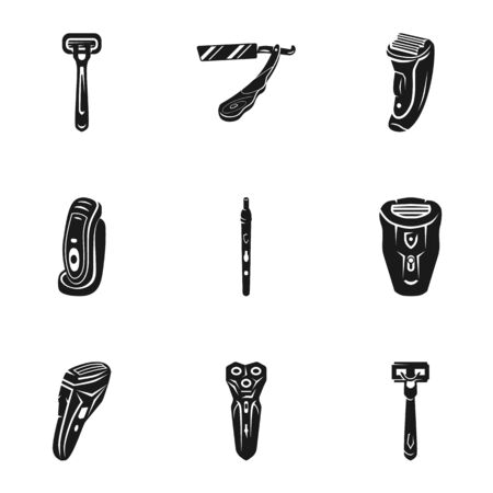 Classic shaver icon set. Simple set of 9 classic shaver vector icons for web design isolated on white background Ilustrace