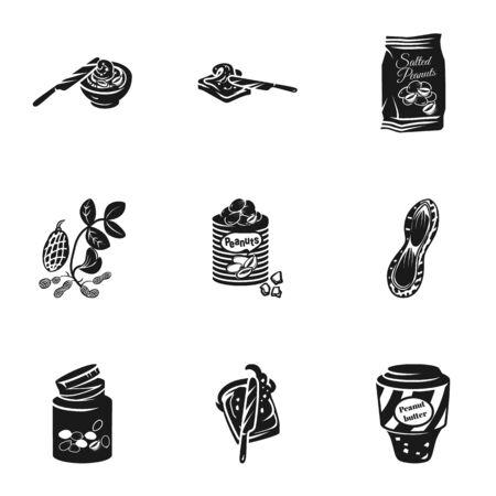 Erdnussbutter-Icon-Set. Einfacher Satz von 9 Erdnussbuttervektorikonen für das Webdesign lokalisiert auf weißem Hintergrund