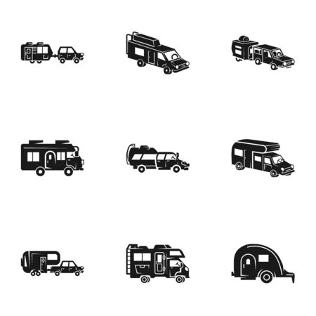 Camping motorhome icon set. Simple set of 9 camping motorhome vector icons for web design isolated on white background