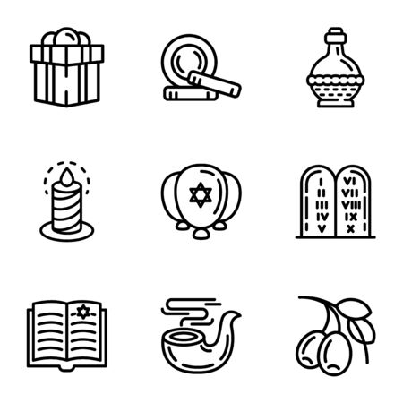 Jewish icon set. Outline set of 9 jewish vector icons for web design isolated on white background
