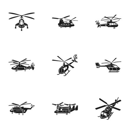 Modern helicopter icon set. Simple set of 9 modern helicopter vector icons for web design isolated on white background Archivio Fotografico - 129784272