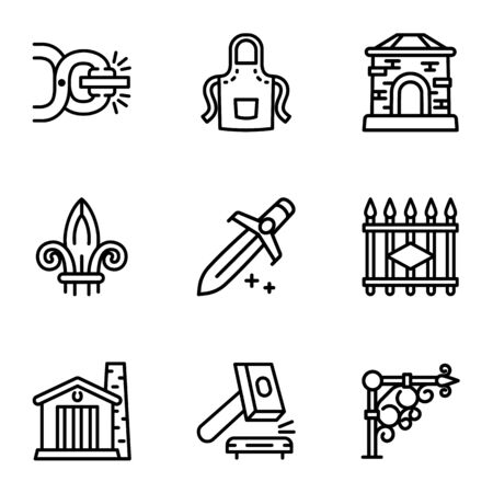 Blacksmith tools icon set. Outline set of 9 blacksmith tools vector icons for web design isolated on white background Иллюстрация