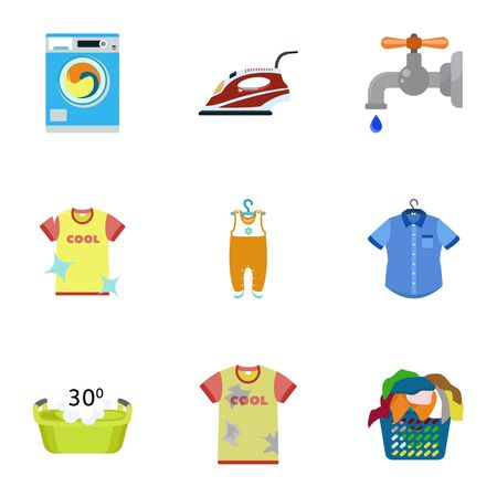 Home laundry icon set. Flat set of 9 home laundry vector icons for web design isolated on white background