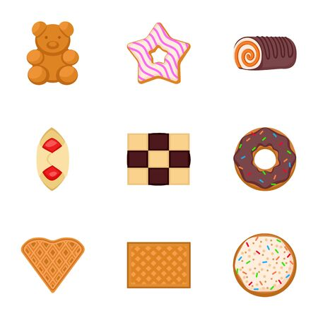 Sweet biscuit icon set. Flat set of 9 sweet biscuit vector icons for web design isolated on white background Иллюстрация