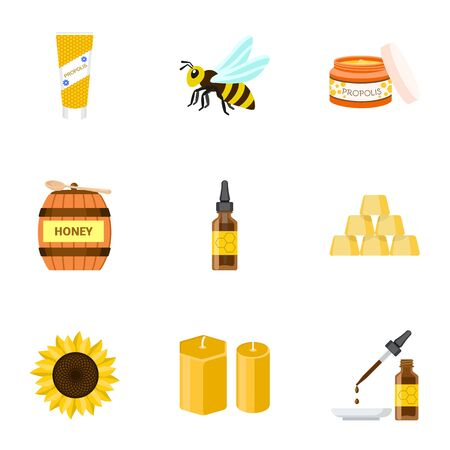 Bee honey icon set. Flat set of 9 bee honey vector icons for web design isolated on white background