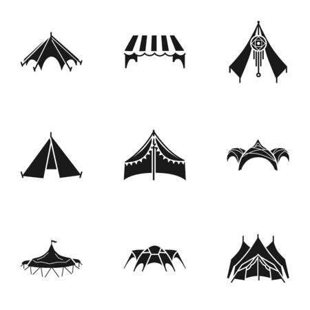 Shelter tent icon set. Simple set of 9 shelter tent vector icons for web design isolated on white background