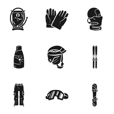 Ski equipment icon set. Simple set of 9 ski equipment vector icons for web design isolated on white background