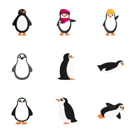 Penguin icon set. Cartoon set of 9 penguin vector icons for web design isolated on white background Ilustração