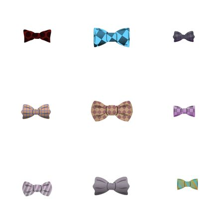 Elegance bow tie icon set. Cartoon set of 9 elegance bow tie vector icons for web design isolated on white background