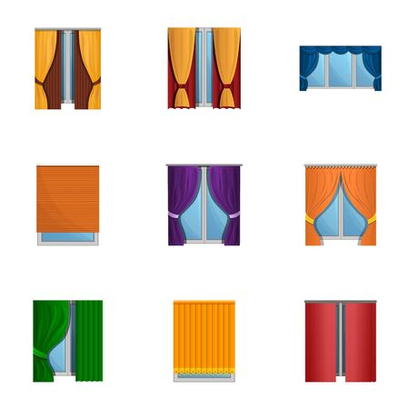Window louvers icon set. Cartoon set of 9 window louvers vector icons for web design isolated on white background