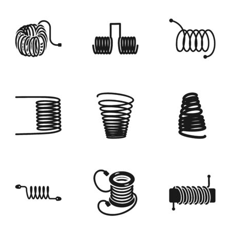 Spring coil icon set. Simple set of 9 spring coil vector icons for web design isolated on white background