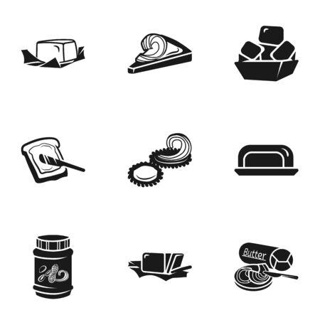 Margarine icon set. Simple set of 9 margarine vector icons for web design isolated on white background Illustration
