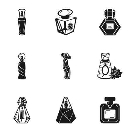 Cosmetic perfume bottle icon set. Simple set of 9 cosmetic perfume bottle vector icons for web design isolated on white background Illustration
