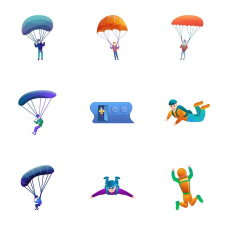 Skydivers icon set. Cartoon set of 9 skydivers vector icons for web design isolated on white background 向量圖像