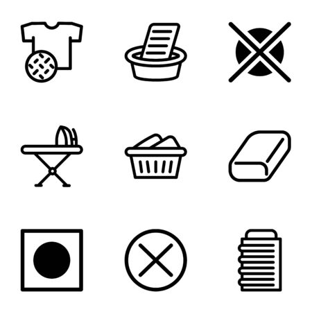 Laundry icon set. Outline set of 9 laundry vector icons for web design isolated on white background