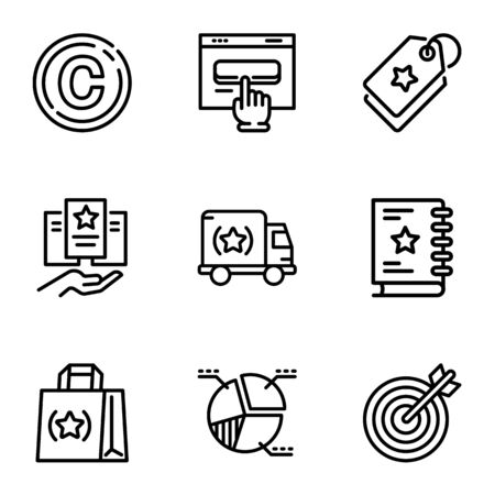 Brand products icon set. Outline set of 9 brand products vector icons for web design isolated on white background Ilustracja