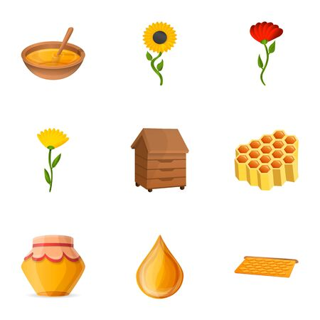 Natural honey icon set. Cartoon set of 9 natural honey vector icons for web design isolated on white background Иллюстрация