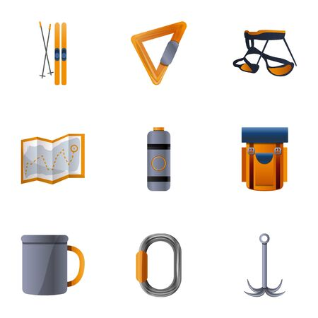 Hiking tools icon set. Cartoon set of 9 hiking tools vector icons for web design isolated on white background Stockfoto - 129784434