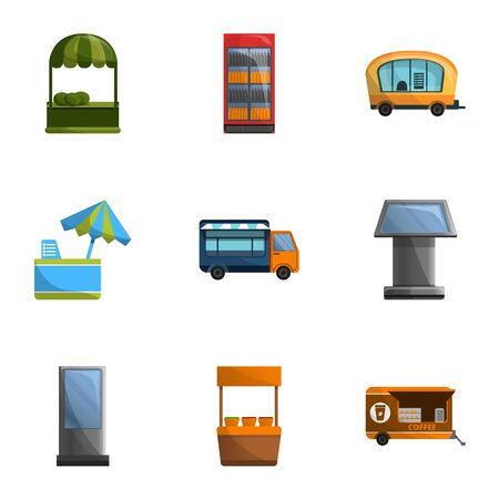 Street shop icon set. Cartoon set of 9 street shop vector icons for web design isolated on white background Иллюстрация