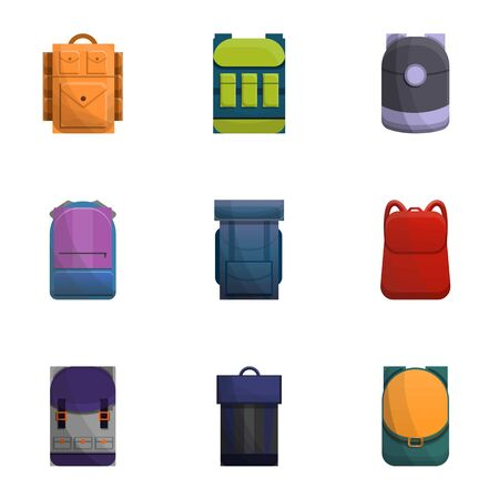 Backpack icon set. Cartoon set of 9 backpack vector icons for web design isolated on white background