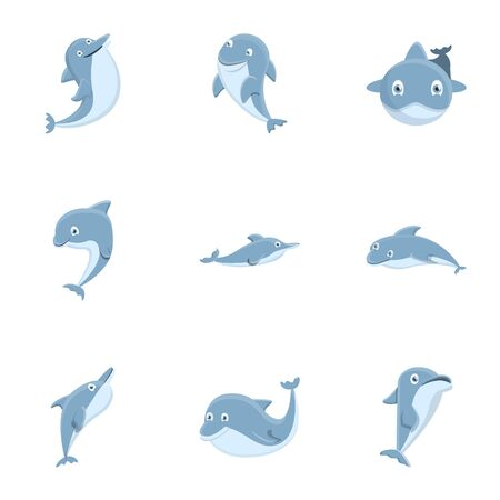 Dolphin icon set. Cartoon set of 9 dolphin vector icons for web design isolated on white background