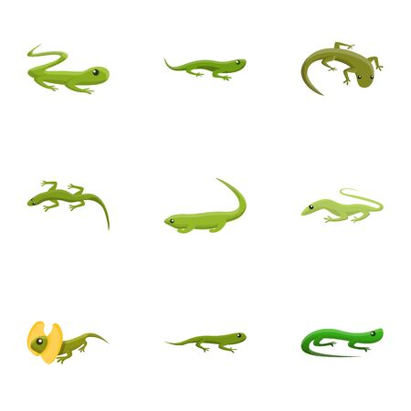 Reptile icon set. Cartoon set of 9 reptile vector icons for web design isolated on white background