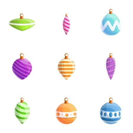 Fir tree toys icon set. Cartoon set of 9 fir tree toys vector icons for web design isolated on white background Illustration