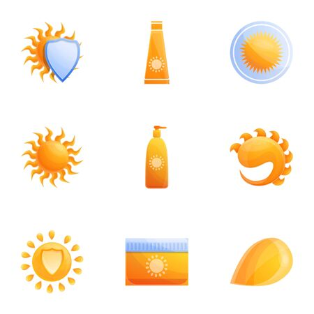 Sunscreen icon set. Cartoon set of 9 sunscreen vector icons for web design isolated on white background