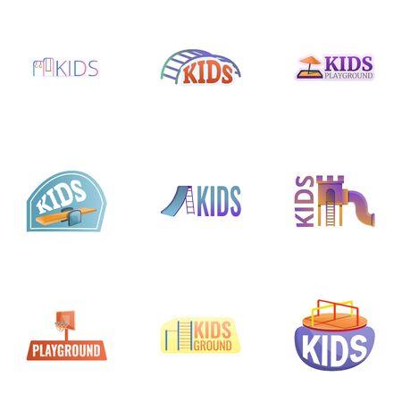 Kid playground logo set. Cartoon set of 9 kid playground vector logo for web design isolated on white background Stock Illustratie