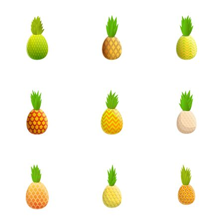 Pineapple icon set. Cartoon set of 9 pineapple vector icons for web design isolated on white background Ilustrace