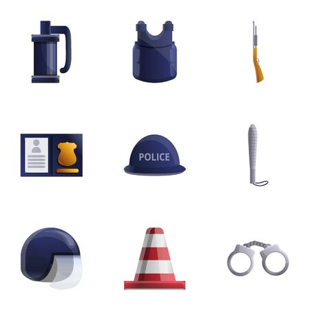 Police icon set. Cartoon set of 9 police vector icons for web design isolated on white background Ilustração