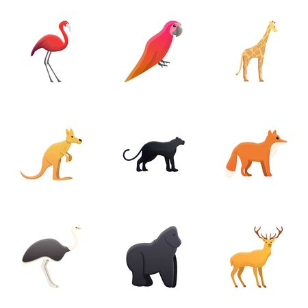 Zoo animals icon set. Cartoon set of 9 zoo animals vector icons for web design isolated on white background