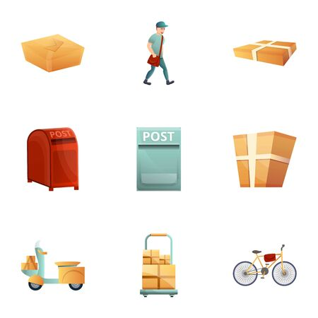 Post icon set. Cartoon set of 9 post vector icons for web design isolated on white background