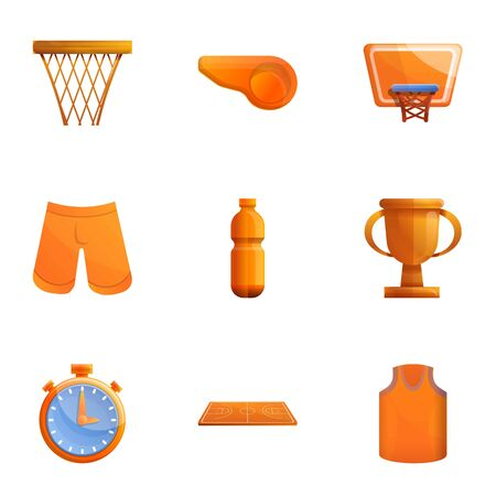 Basketball icon set. Cartoon set of 9 basketball vector icons for web design isolated on white background