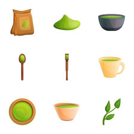 Matcha tea icon set. Cartoon set of 9 matcha tea vector icons for web design isolated on white background  イラスト・ベクター素材