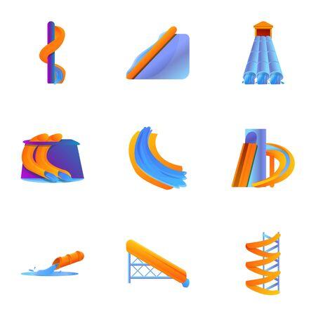 Aquapark icon set. Cartoon set of 9 aquapark vector icons for web design isolated on white background 写真素材 - 129784674