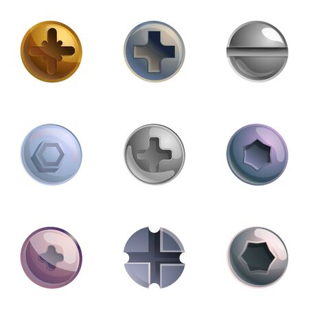 Bolt head icon set. Cartoon set of 9 bolt head vector icons for web design isolated on white background