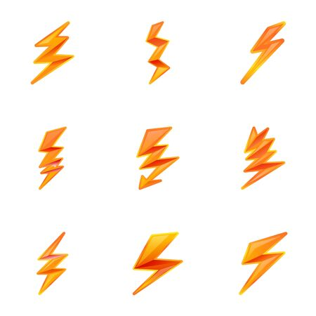 Lightning bolt icon set. Cartoon set of 9 lightning bolt vector icons for web design isolated on white background