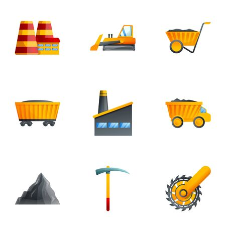 Coal factory icon set. Cartoon set of 9 coal factory vector icons for web design isolated on white background Vectores