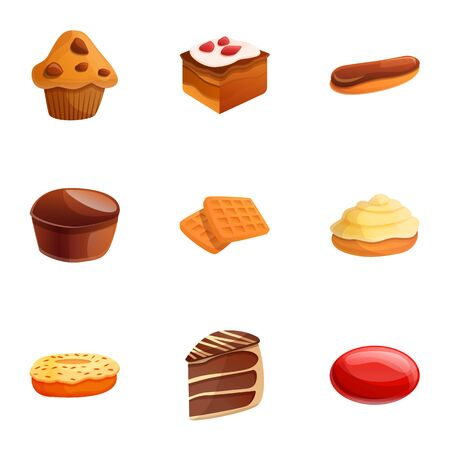 Candy icon set. Cartoon set of 9 candy vector icons for web design isolated on white background Ilustração