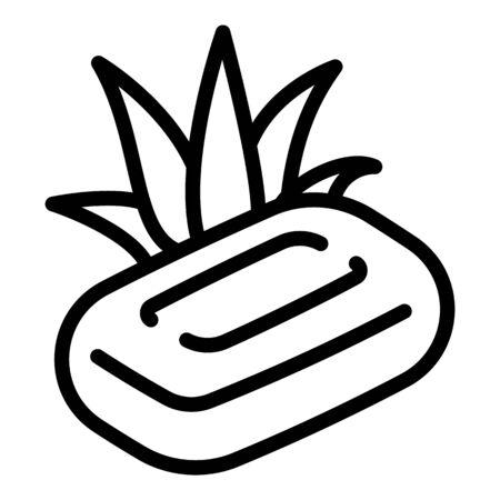 Aloe vera soap icon. Outline aloe vera soap vector icon for web design isolated on white background Ilustracja
