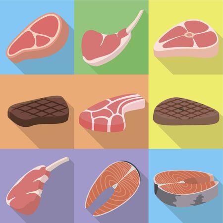 Steak icon set. Flat set of 9 steak vector icons for web design isolated on white background