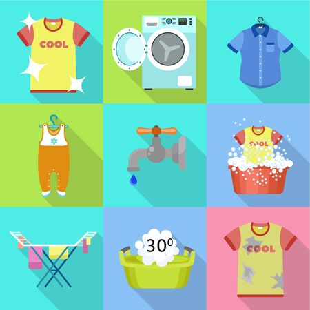 Home washing icon set. Flat set of 9 home washing vector icons for web design isolated on white background