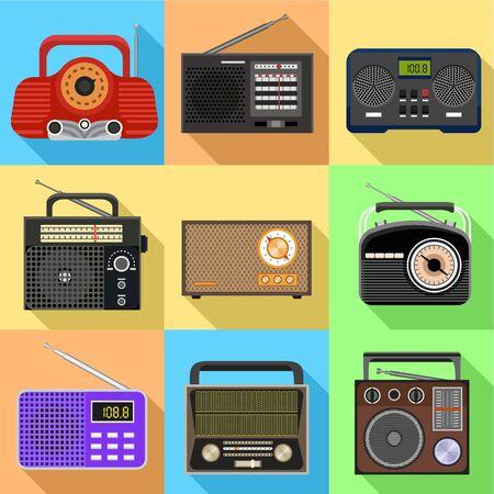 Radio icon set. Flat set of 9 radio vector icons for web design isolated on white background Ilustracja