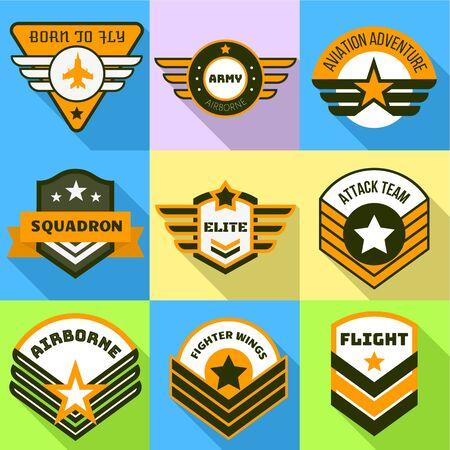 Airborne-Logo-Set. Flacher Satz von 9 luftgetragenen Vektorlogos für Webdesign lokalisiert auf weißem Hintergrund Logo