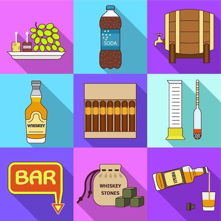 Whiskey icon set. Flat set of 9 whiskey vector icons for web design isolated on white background Ilustracja