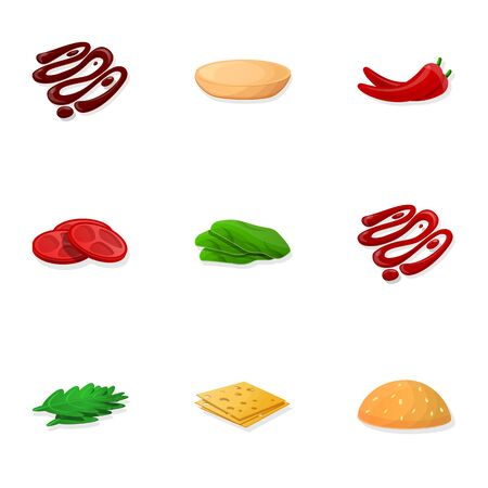 Burger component icon set. Cartoon set of 9 burger component vector icons for web design isolated on white background