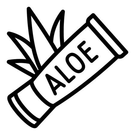 Aloe tube cream icon. Outline aloe tube cream vector icon for web design isolated on white background