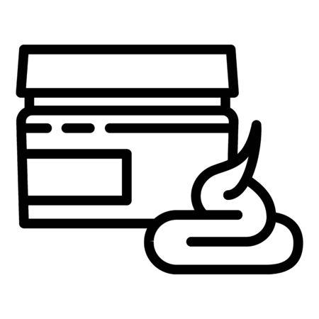 Aloe cream jar icon. Outline aloe cream jar vector icon for web design isolated on white background Ilustracja